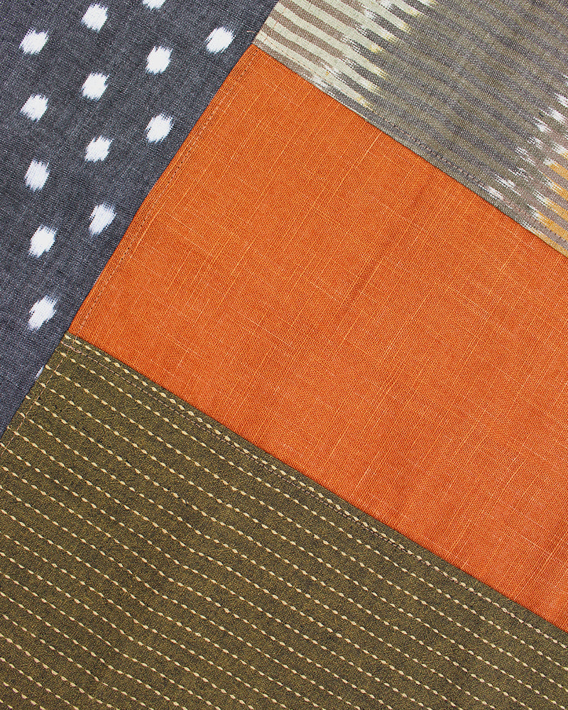 Patchwork Bandana, Grey Dots, Orange and Green Sashiko