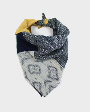 Patchwork Bandana, Yellow, Indigo Shima and Grey Grid