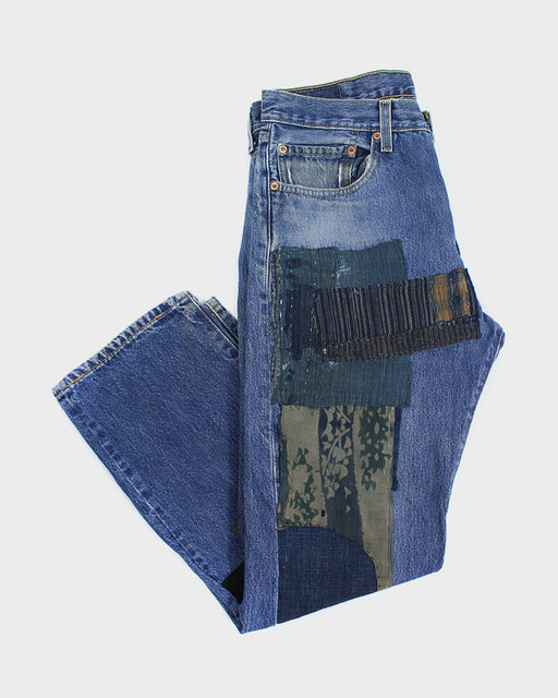 Leviʻs 501 Vintage Denim, Boro, Green, Red and Cream