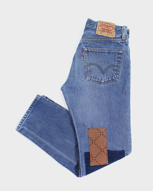 Leviʻs Vintage 501 Denim, Orange Sashiko with Indigo Kiku