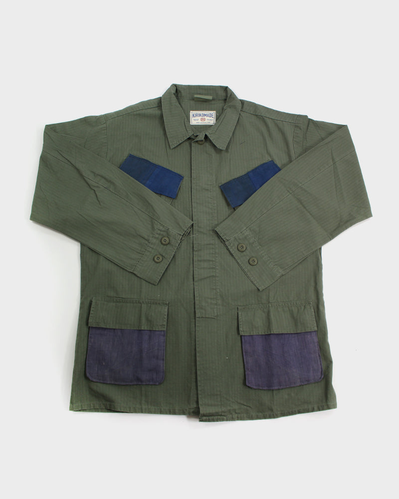 Green Patched Military Jacket, with Vintage Indigo, Kiku and Purple