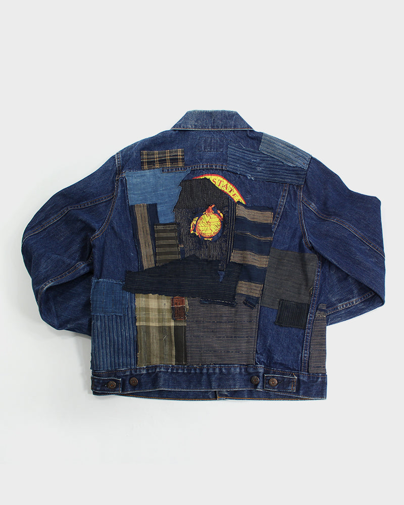 One of a Kind Patched Leviʻs Jacket, Indigo, Sashiko, Plaid and Boro