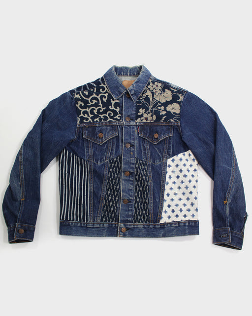 One of a Kind Patched Leviʻs Jacket, Indigo and Cream, Karakusa, Igeta and Asanoha
