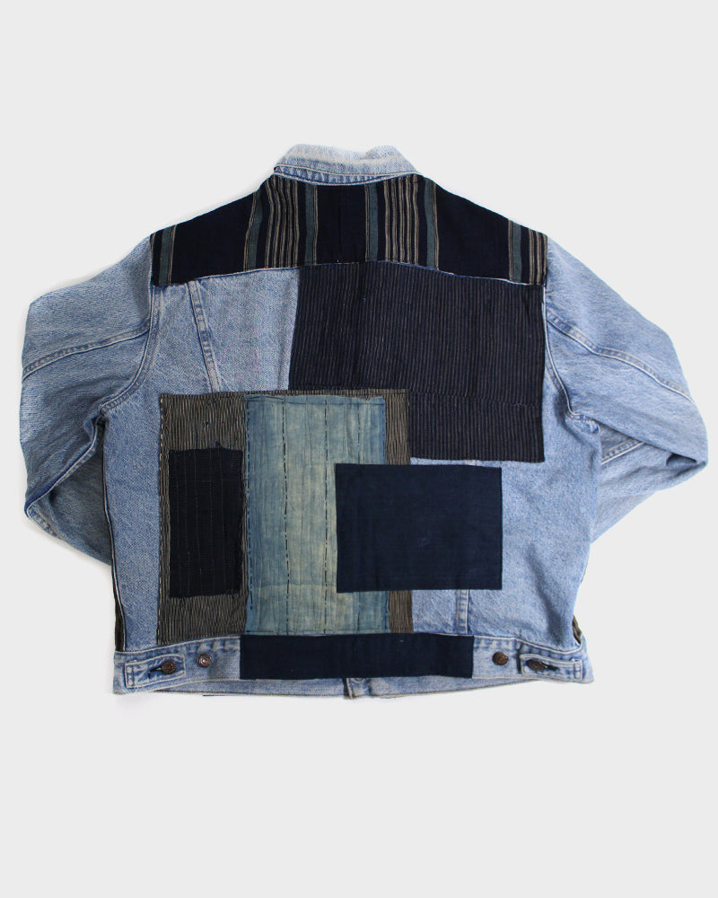 One of a Kind Levi Jacket with Patched Boro Shima Fabric