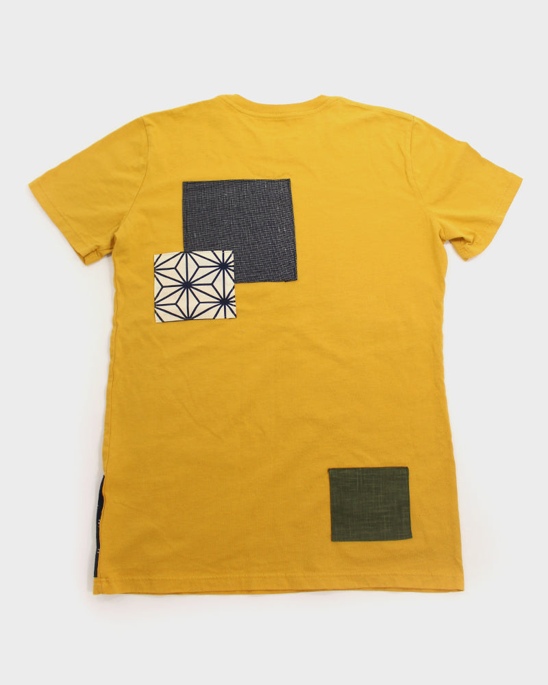 Patched Tee, Yellow with Green and Brown Sashiko
