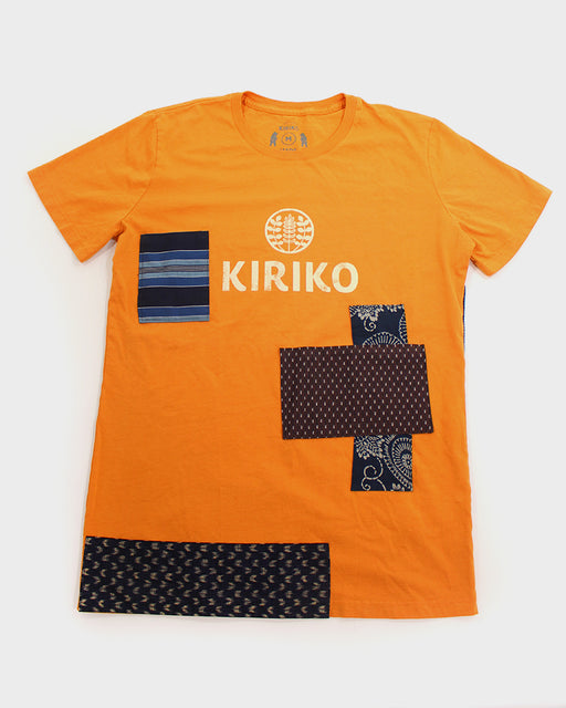 Patched Tee, Orange with Indigo Shima