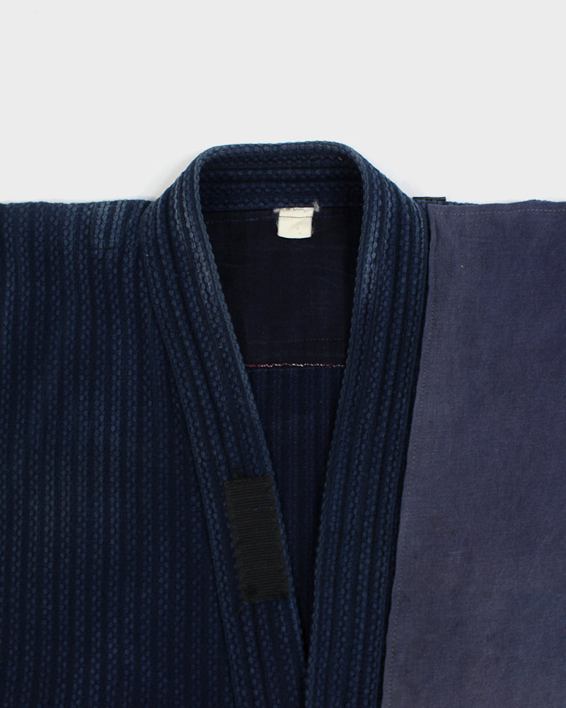 One-of-a-Kind Patched Kendo Jacket, Indigo and Brown Shima (S)