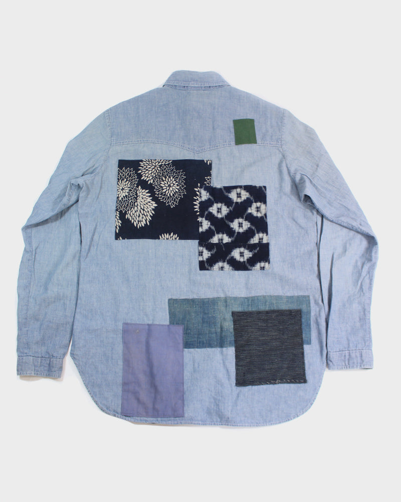 Vintage Patchwork Button-Up Shirt, Kiku, Kasuri & Shima