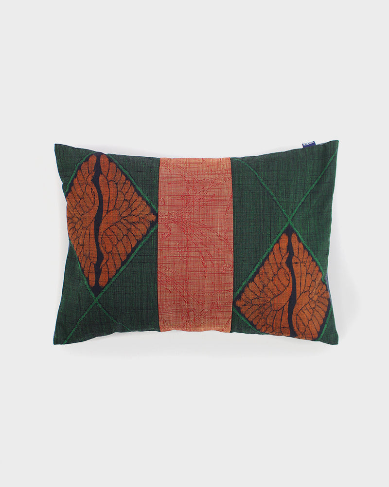 Patchwork Pillow, Green and Orange Cranes