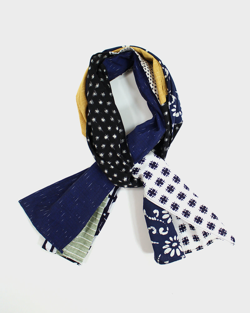 Patchwork Scarf, Yellow, Floral and Kasuri
