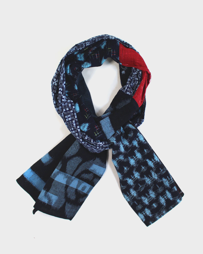Patchwork Scarf, Multi Blue Kasuri and Red Kagasuri
