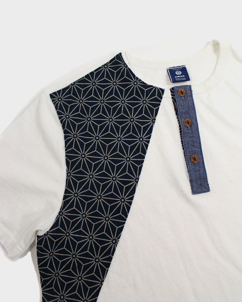 Patched White Henley Tee with Nami, Asanoha and Dash Patches