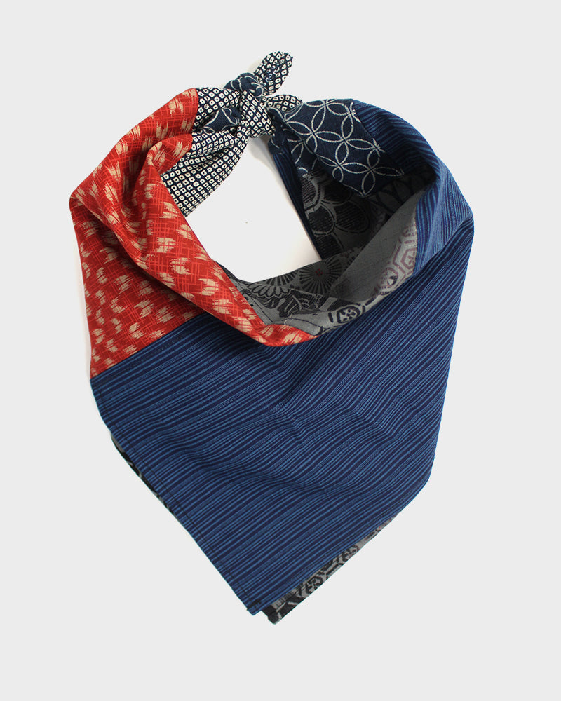 Patchwork Bandana, Modern, Grey Multi, with Indigo Shippou