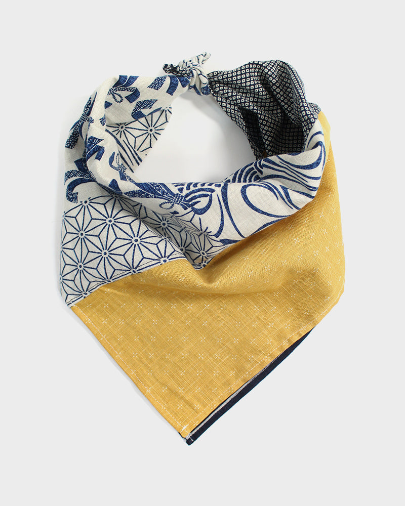 Patchwork Bandana, Modern, Cream Noshi with Yellow