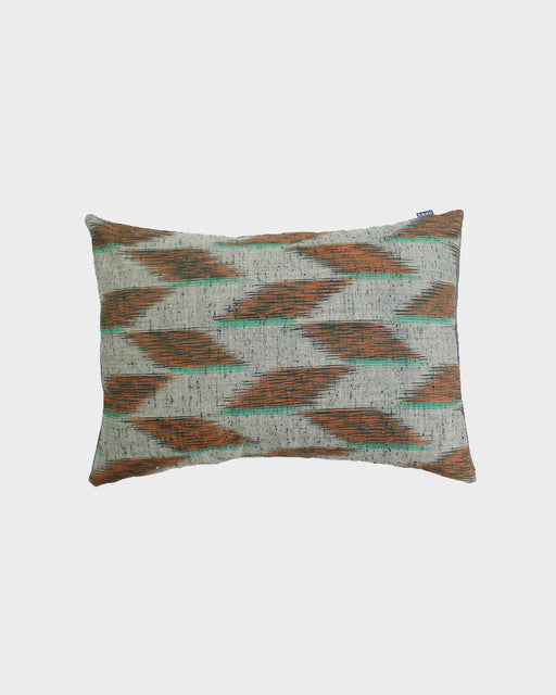 Orange and Teal Kasuri Pillow