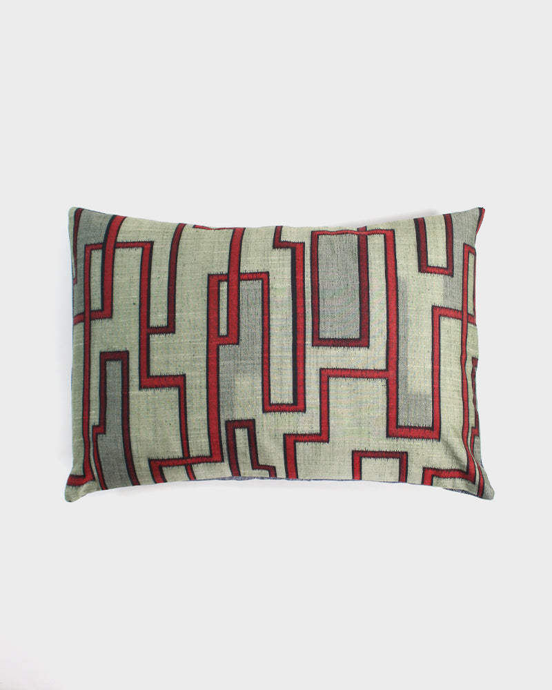 Moss Green with Red Abstract Design Pillow