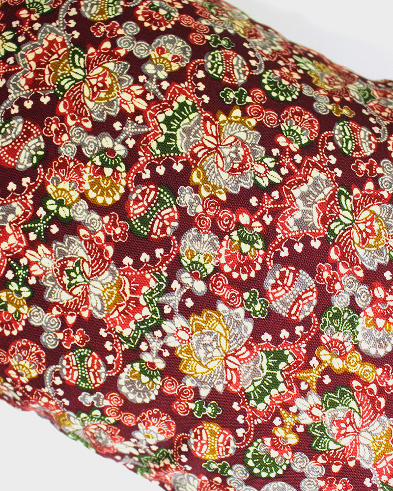 Wool Fabric Pillow, Red, Green and Yellow, Abstract Floral Pattern