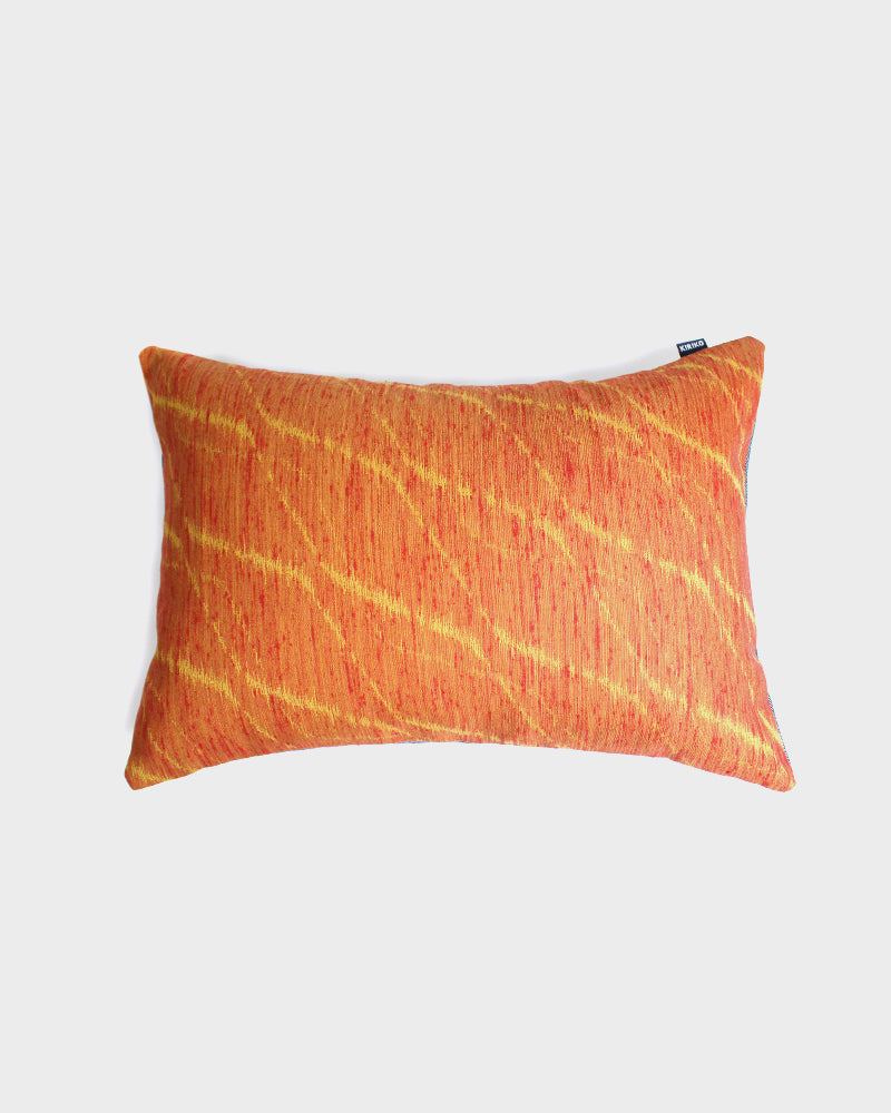 Wool Fabric Pillow, Orange and Yellow Kasuri