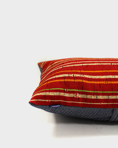 Red with Cream Bamboo Pillow