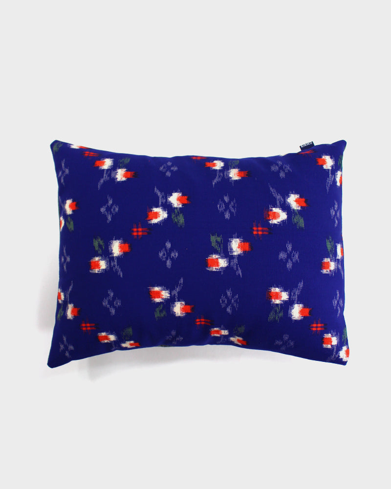 Pillow Royal Blue With White And Red Kasuri Flowers Kiriko Made
