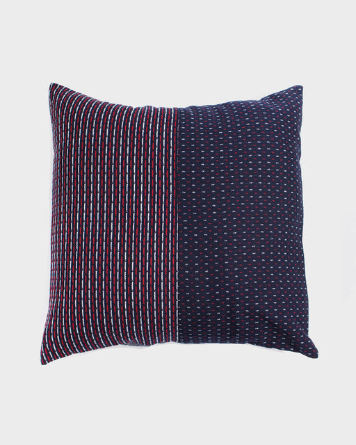 Split Pillow, Indigo, Red & White Dash