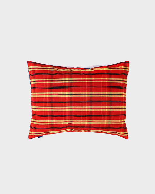 Pillow Kasuri Red Orange and Yellow Plaid