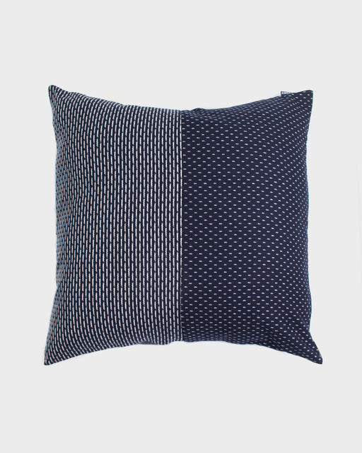 Split Pillow, Indigo & White Dash