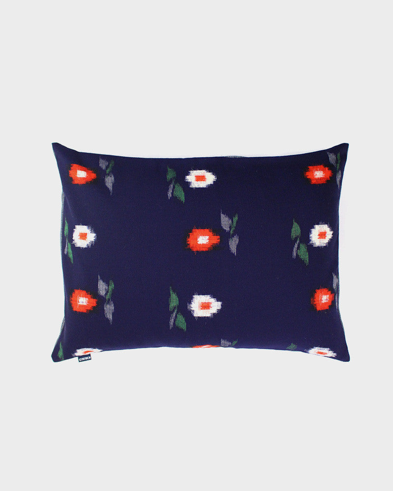 Pillow Blue with Red and White Kasuri Flowers