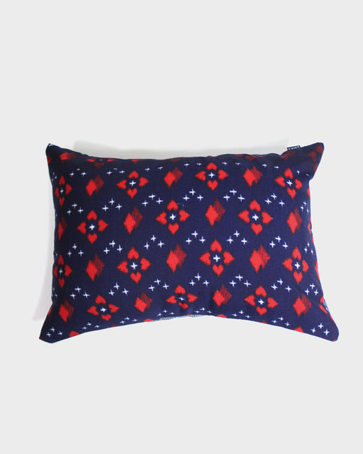Wool Kimono Fabric Pillow, Indigo and Red with Abstract Pattern