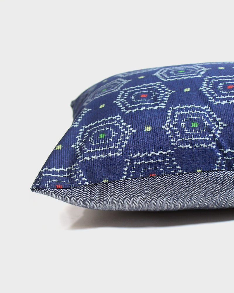 Tsumugi Silk Fabric Pillow, Indigo with Red, Yellow and Green Abstract Pattern