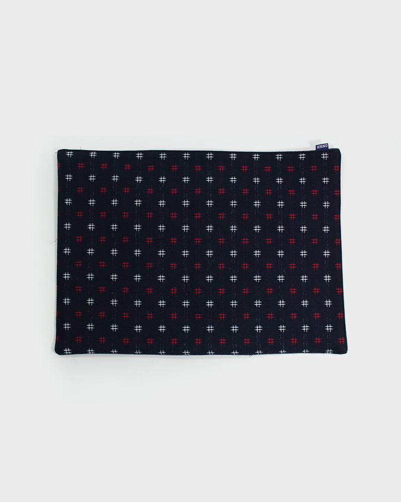 Table Mat, Indigo with White and Red Igeta