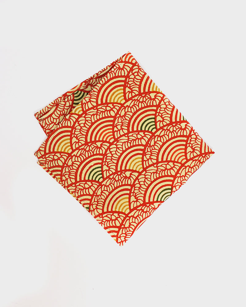Pocket Square, Red Floral Seigaiha