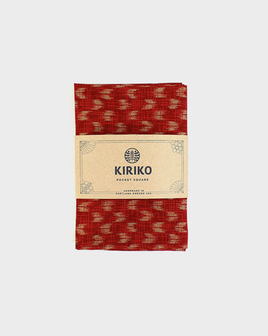 Pocket Square, Kimono Red Orange Yagasuri