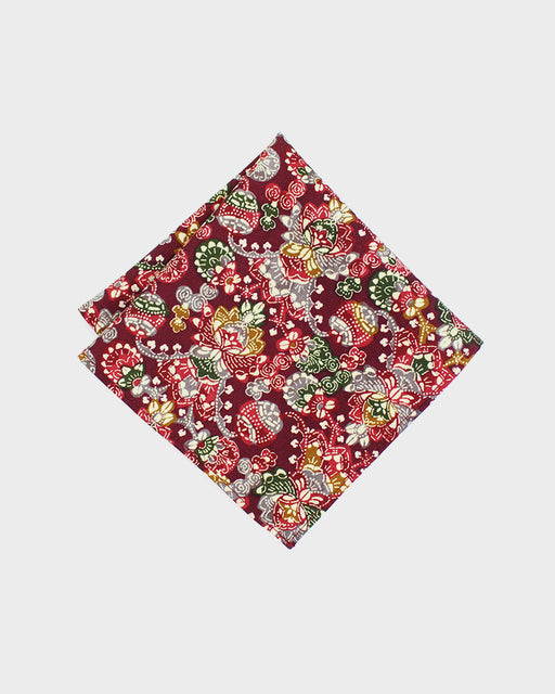 Pocket Square, Red and Green, Lotus