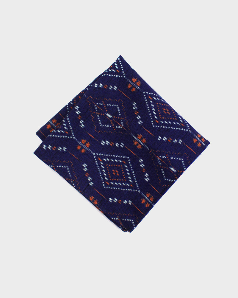 Pocket Square, Deep Purple White and Red Diamond Kasuri