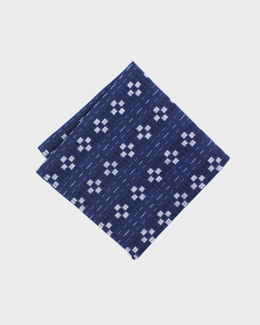 Pocket Square, Indigo Kasuri Grid