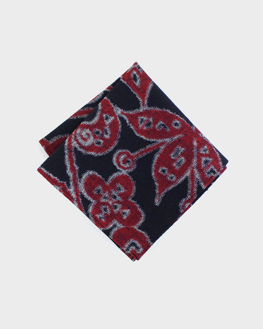 Pocket Square, Red and Indigo, Floral Kasuri