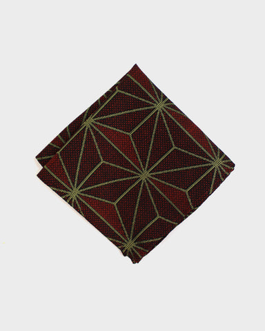Pocket Square, Kimono Burgundy With Green Asanoha