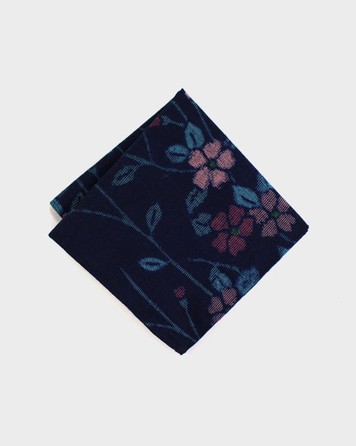Pocket Square Blue Kasuri Floral