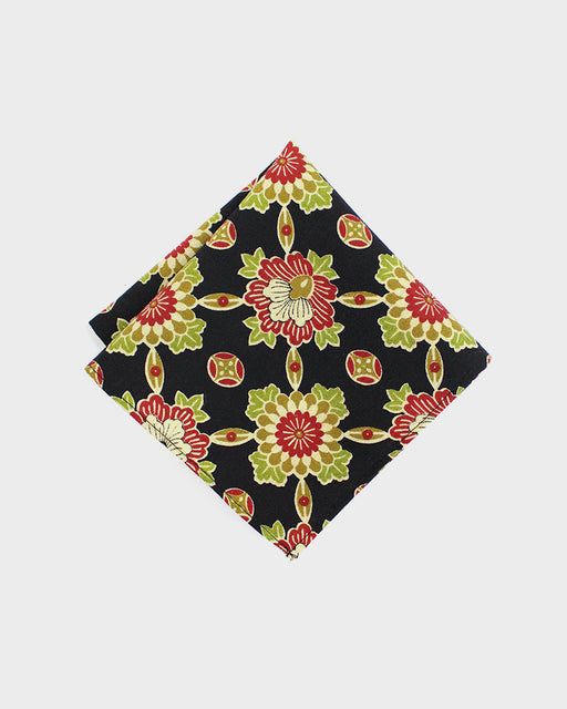 Pocket Square, Red, Green and Indigo, Geometric Kiku