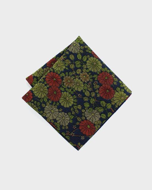 Pocket Square, Red, Green and Indigo, Kiku