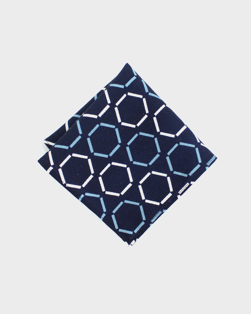Pocket Square, Indigo and White, Hexagon