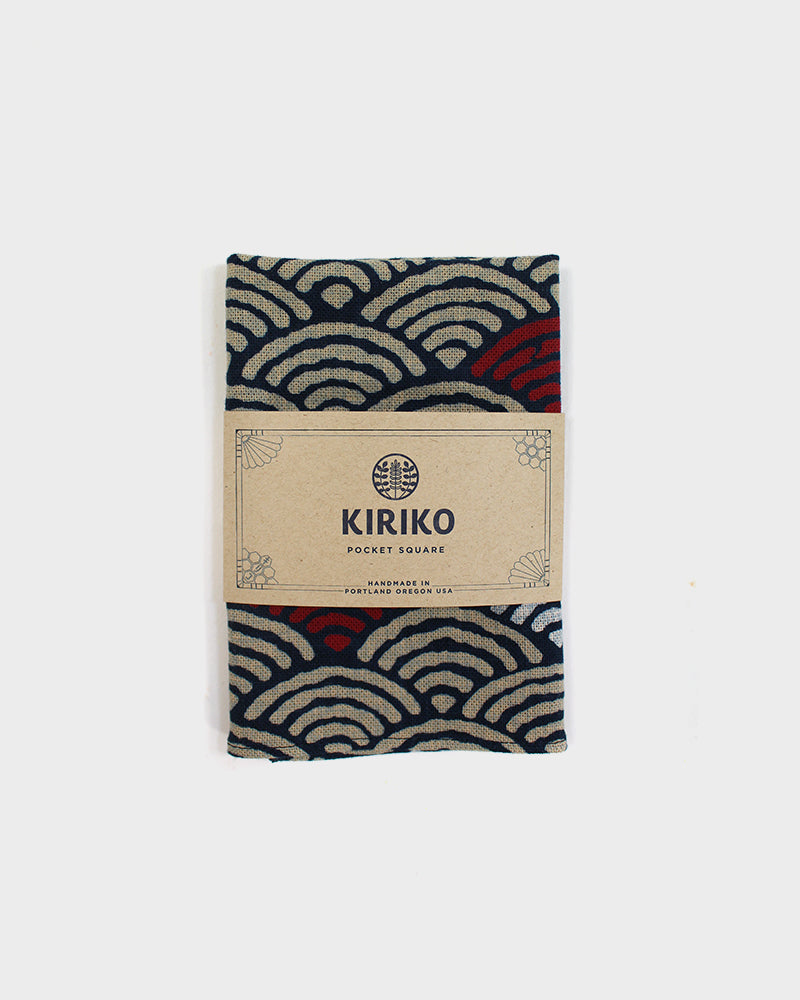 Pocket Square, Navy, White & Red Seigaiha