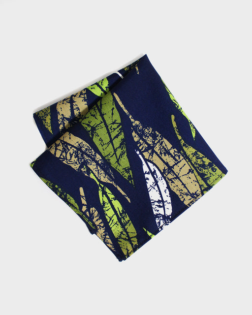 Pocket Square, Blue, Green and Tan Leaves