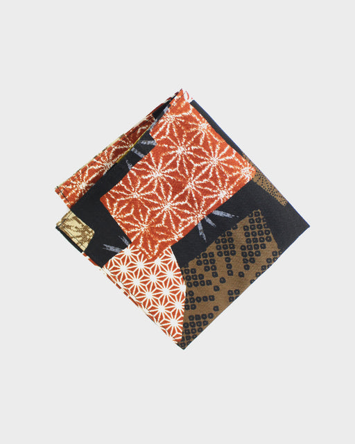 Pocket Square, Burnt Orange & Golden Yellow Patchwork Style