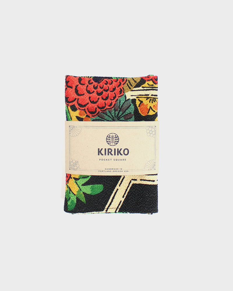 Pocket Square, Black, Red and Green, Kikko Kiku