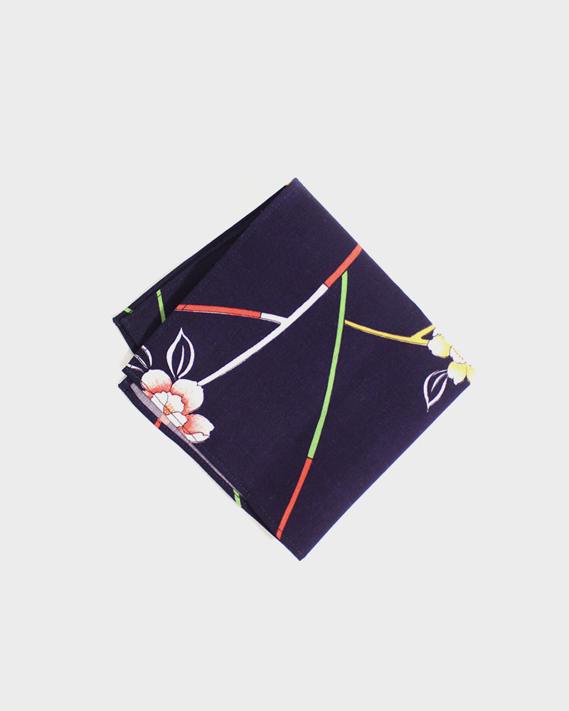 Pocket Square, Dark Purple, Flower and Stem