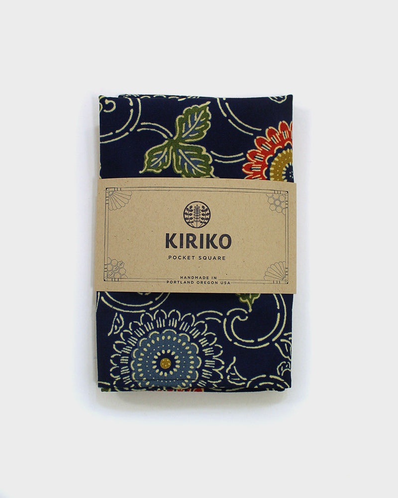 Pocket Square, Indigo Kiku