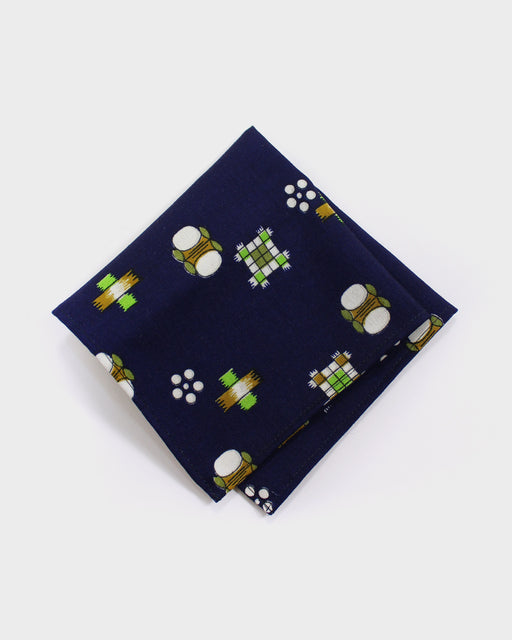 Pocket Square, Indigo, Green and Brown, Kasuri