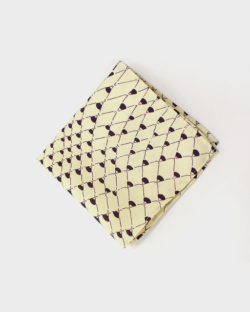 Pocket Square, Fishing Net with purple on cream